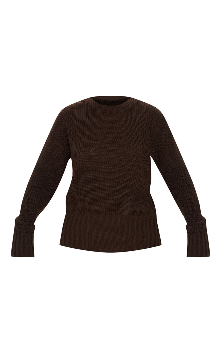 Brown Ribbed Hem Knitted Jumper  3