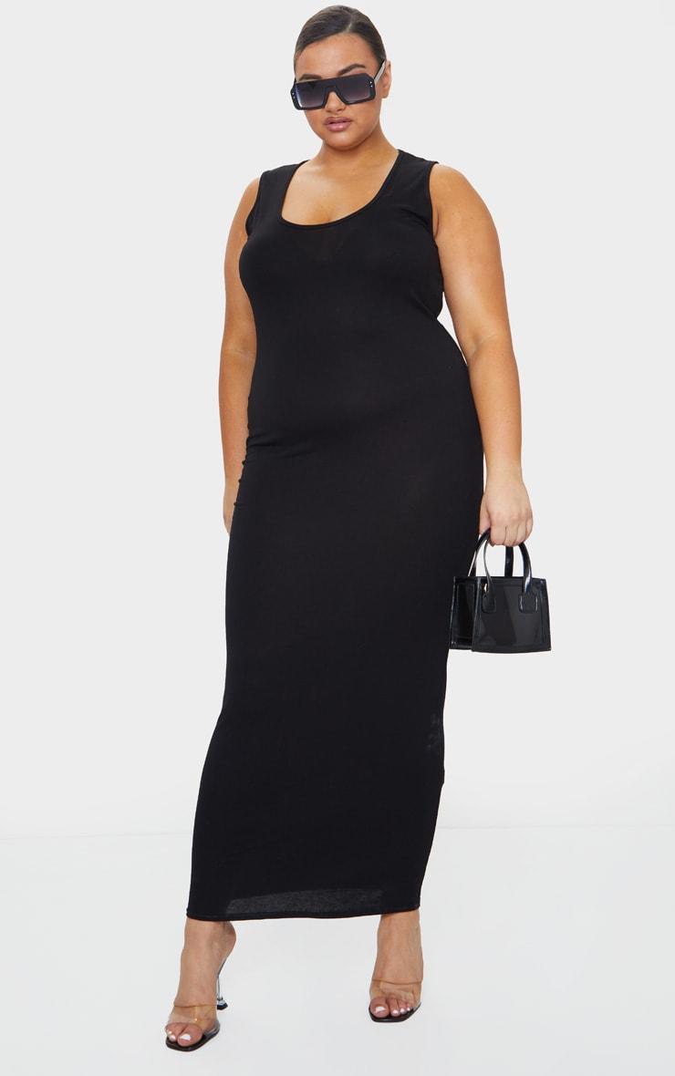 Plus Basic Black Maxi Dress 1