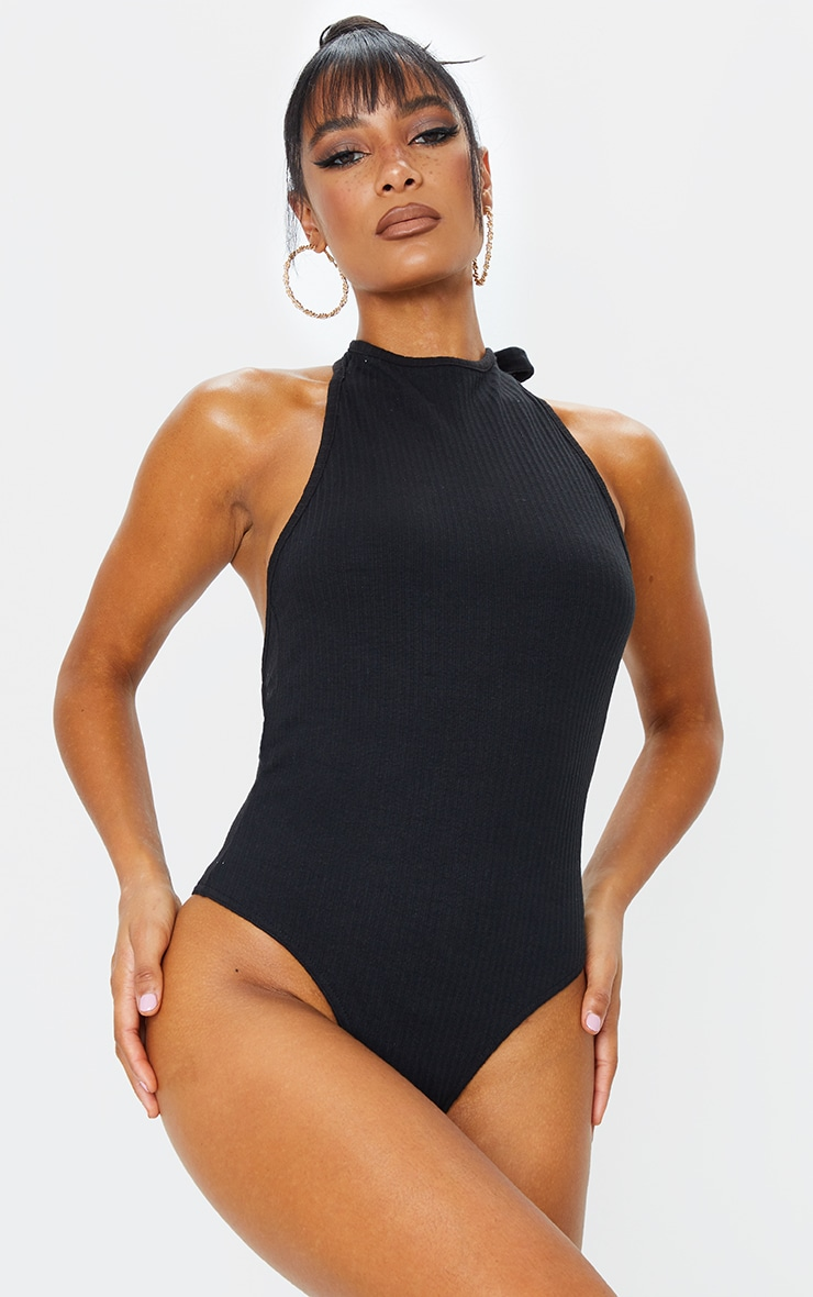 Black Structured Rib Halter Tie Backless Bodysuit 2