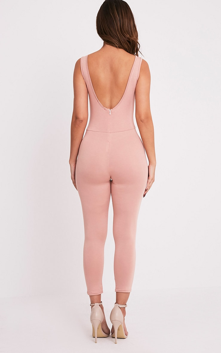 Katie Nude Scoop Back Fitted Cropped Leg Jumpsuit 2
