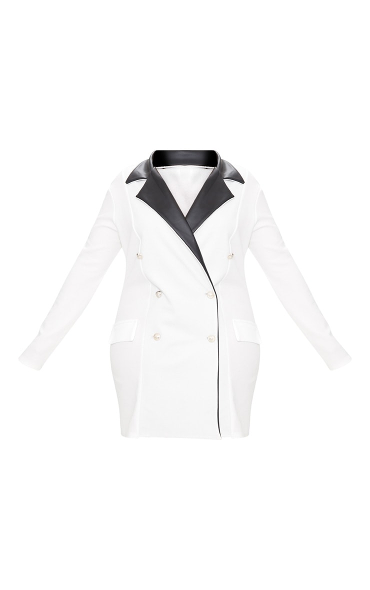 Plus White PU Trim Button Detail Blazer Dress 3