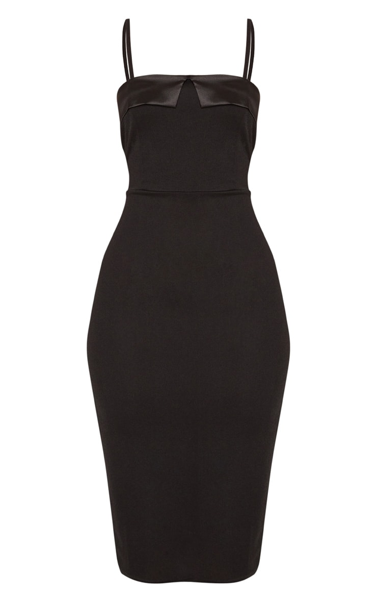 Black Strappy Satin Lapel Bodycon Midi Dress 3
