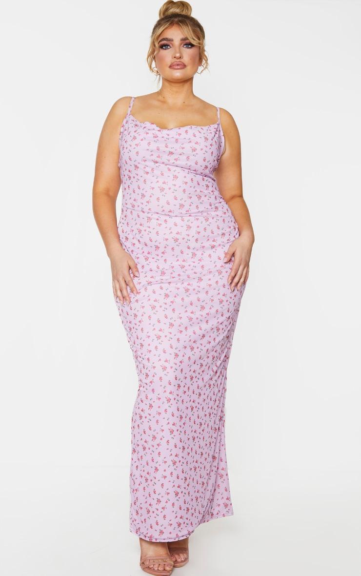 Plus Lilac Floral Print Mesh Cowl Maxi Dress 1