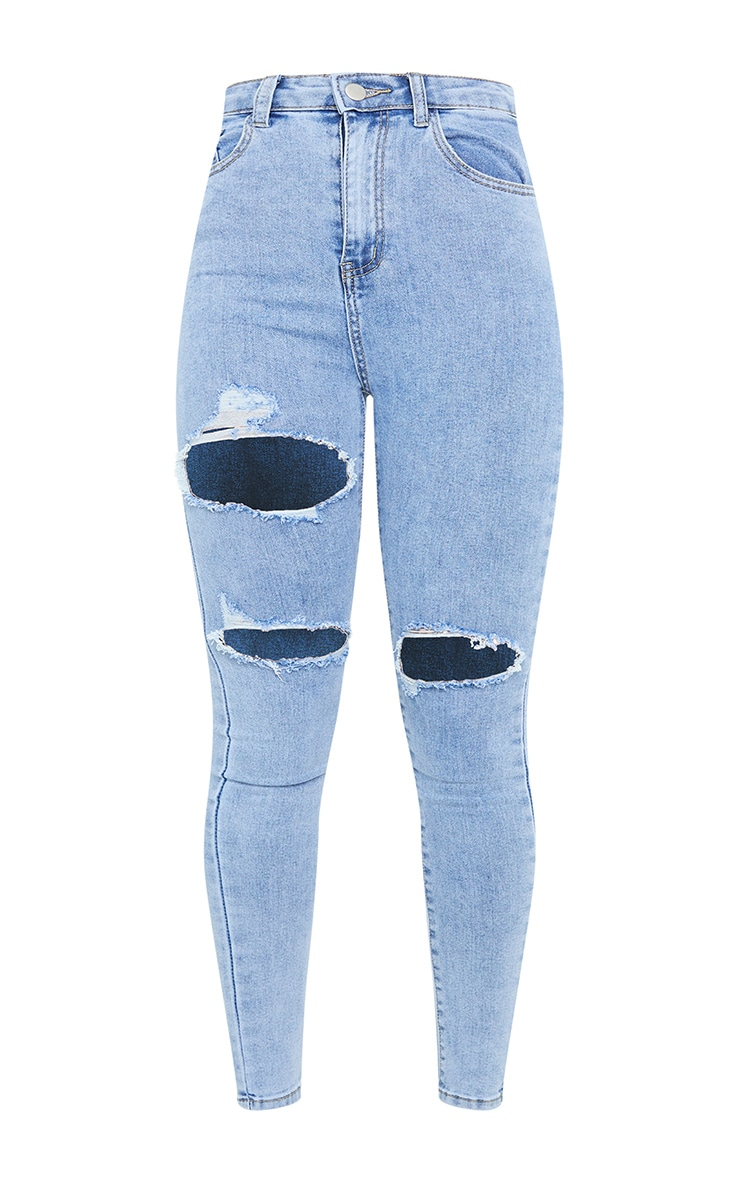 PRETTYLITTLETHING Vintage Wash Double Rip 5 Pocket Skinny Jean 5