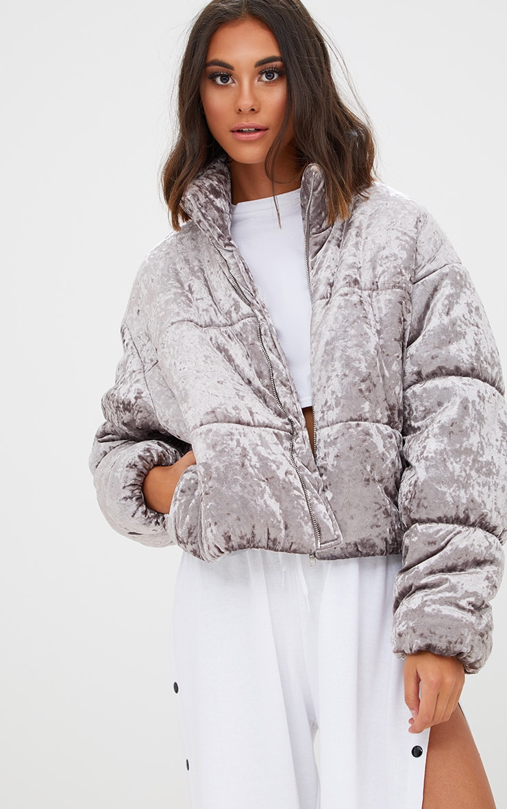 Grey Velvet Cropped Puffer Coat