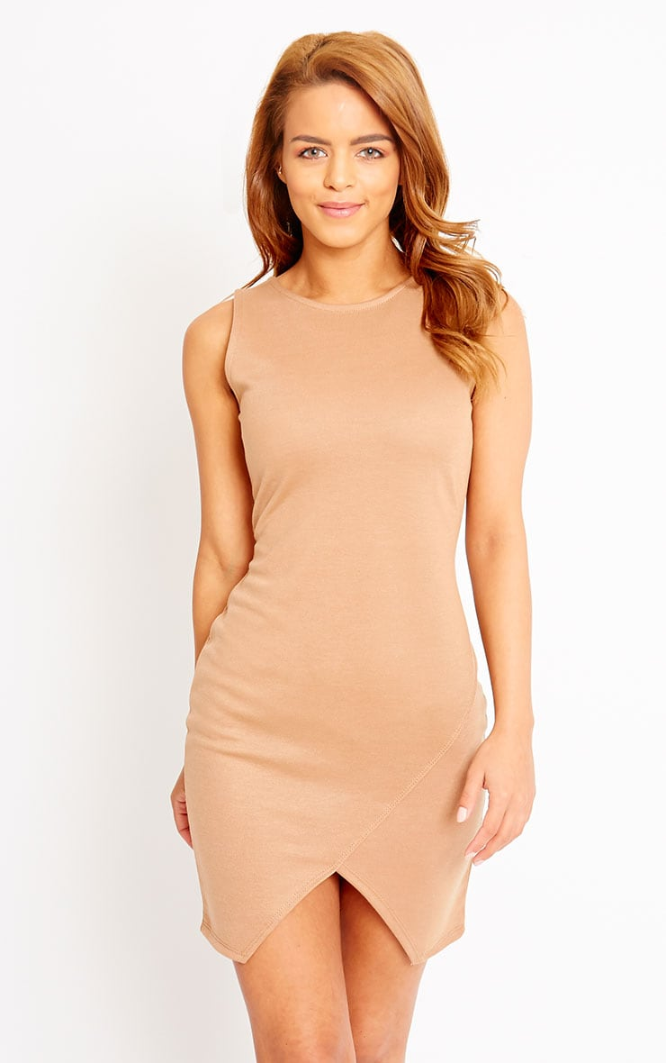 Ahana Camel V-Front Hem Mini Dress 1