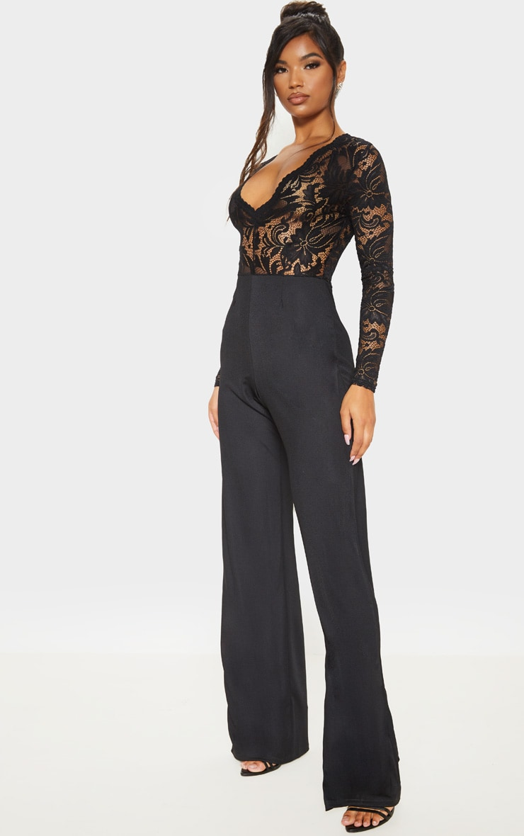 Black Lace Long Sleeve Plunge Jumpsuit 4