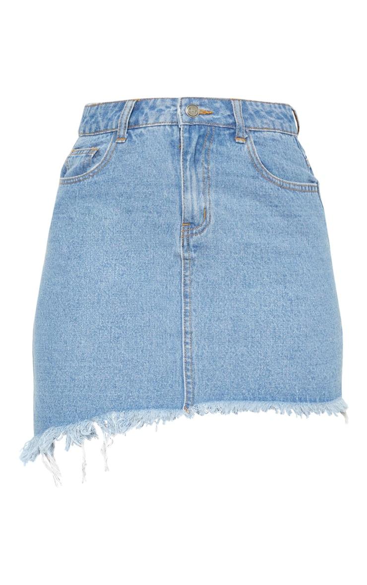 Tall Mid Wash Frayed Hem Asymmetric Denim Skirt 3