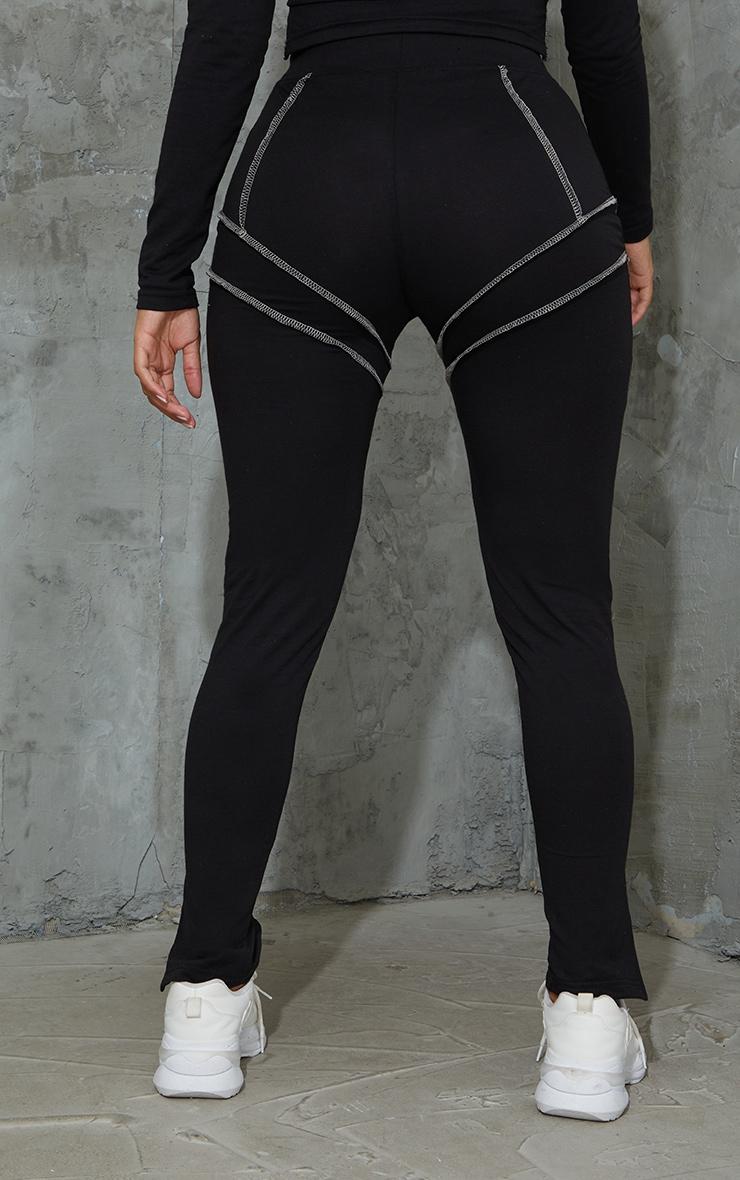Shape Black Overlock Stitch Detail Split Hem Leggings 3