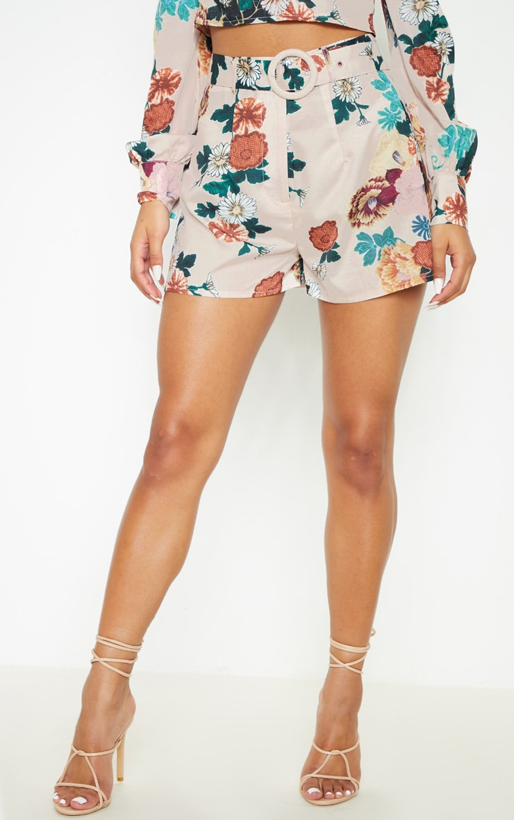 Multi Floral Printed High Waisted Belted Short 2