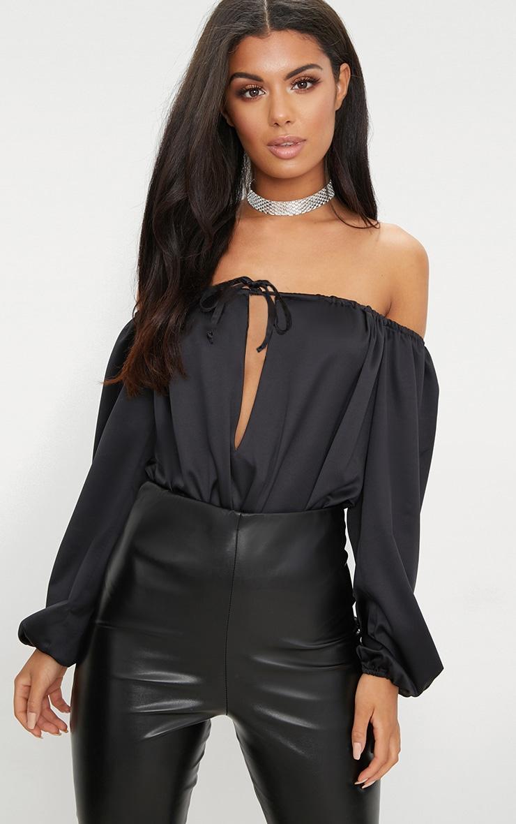 Black Satin Keyhole Longsleeve Bardot Thong Bodysuit  1
