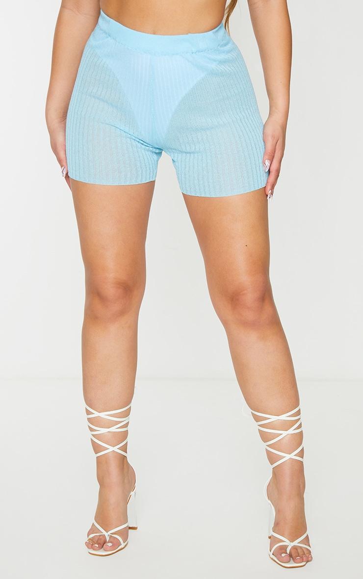 Blue Sheer Knit High Waisted Shorts 2