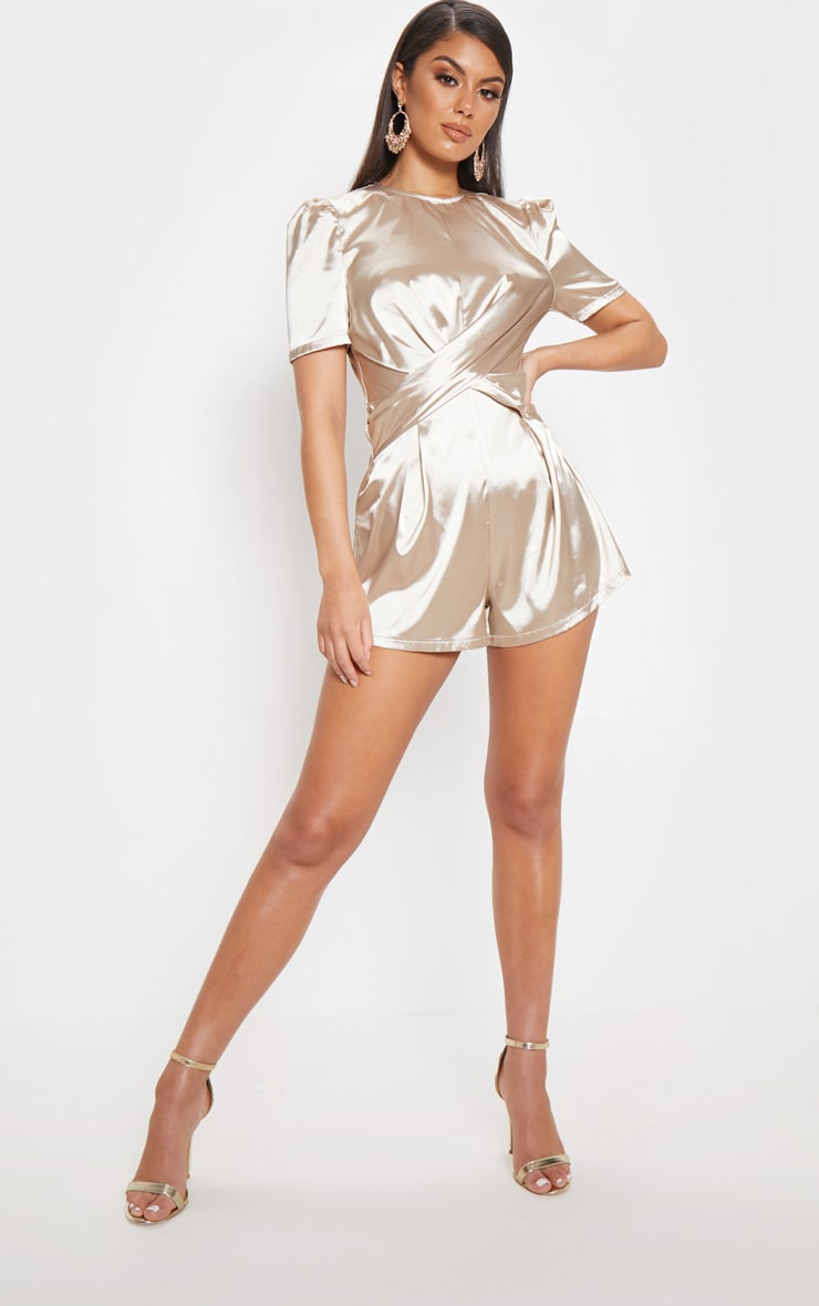 Champagne Satin Twist Detail Short Sleeve Playsuit 4