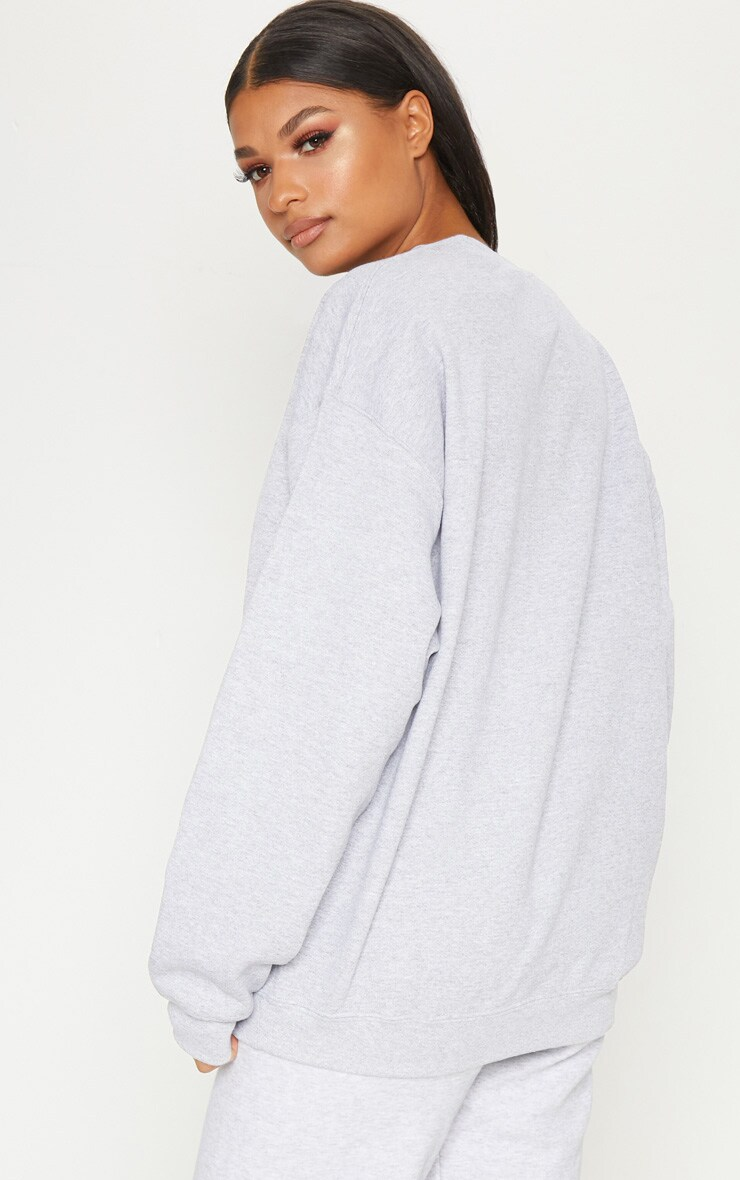 PRETTYLITTLETHING Ash Grey Embroidered Sweater  2