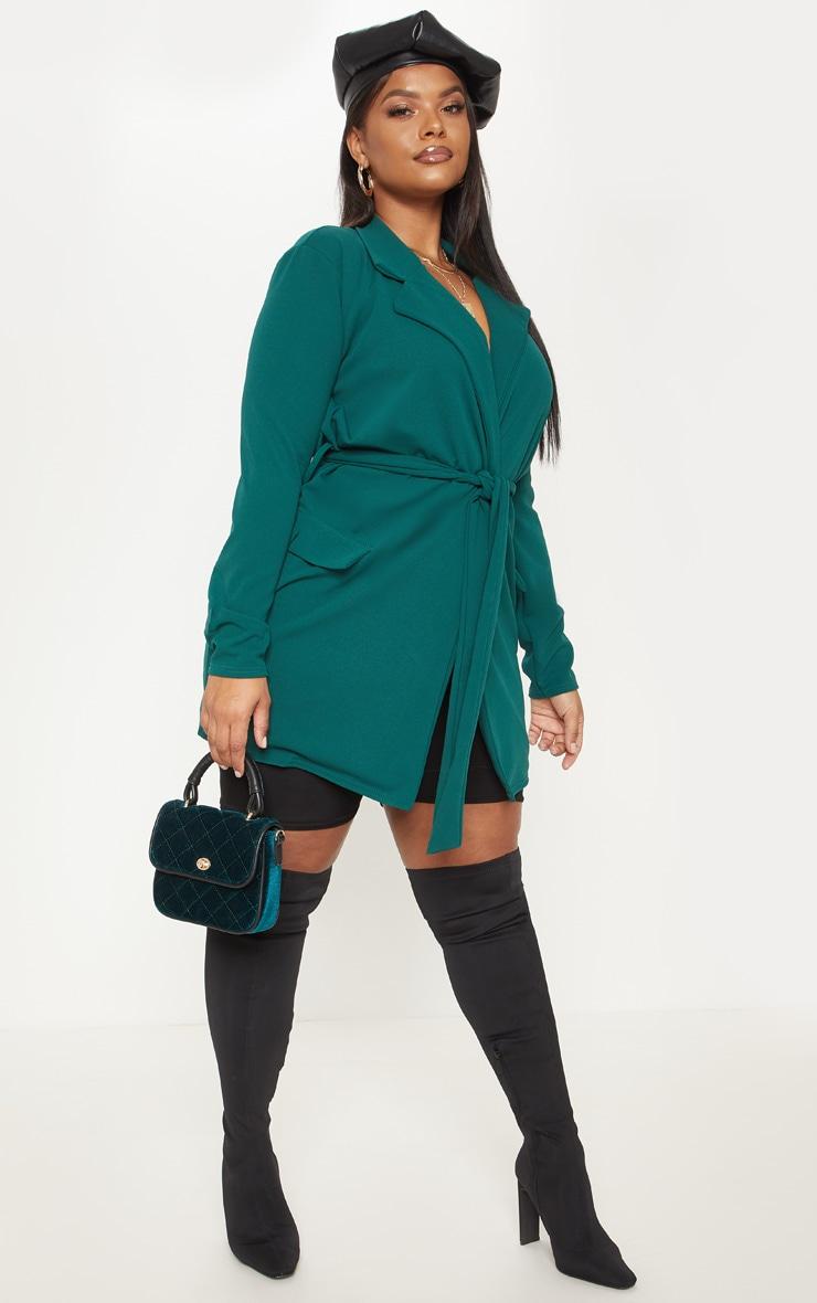 Plus Emerald Green Pocket Detail Tie Waist Blazer 4
