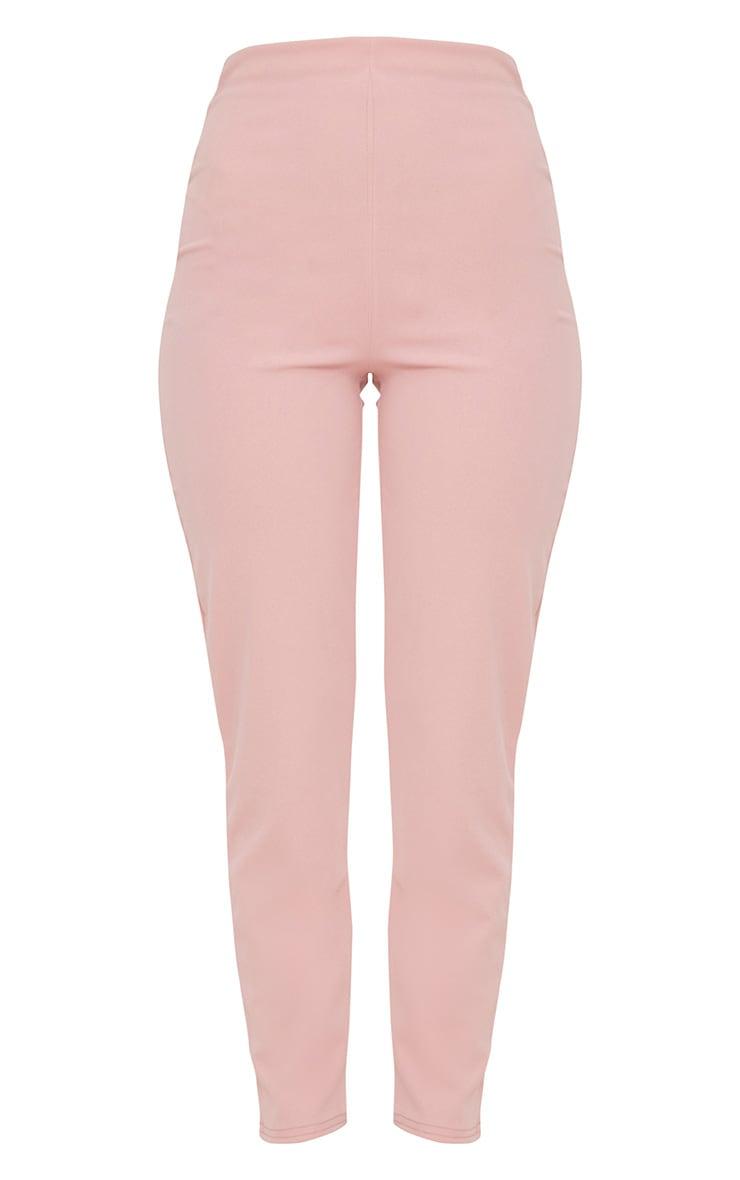 Pastel Pink Slim Leg Crepe Pants 3