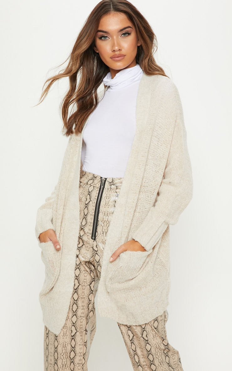 Cream Knitted Cardigan With Pockets
