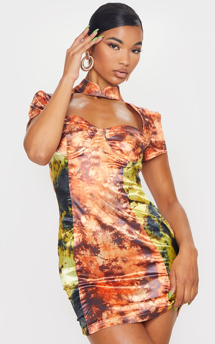 Orange Tie Dye Satin High Neck Underwire Bodycon Dress 3