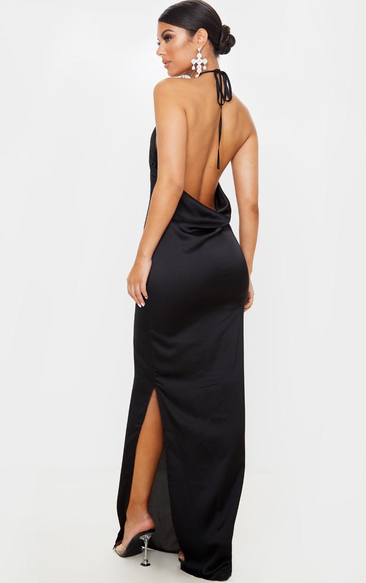 Black Cowl Back Halterneck Maxi Dress 1