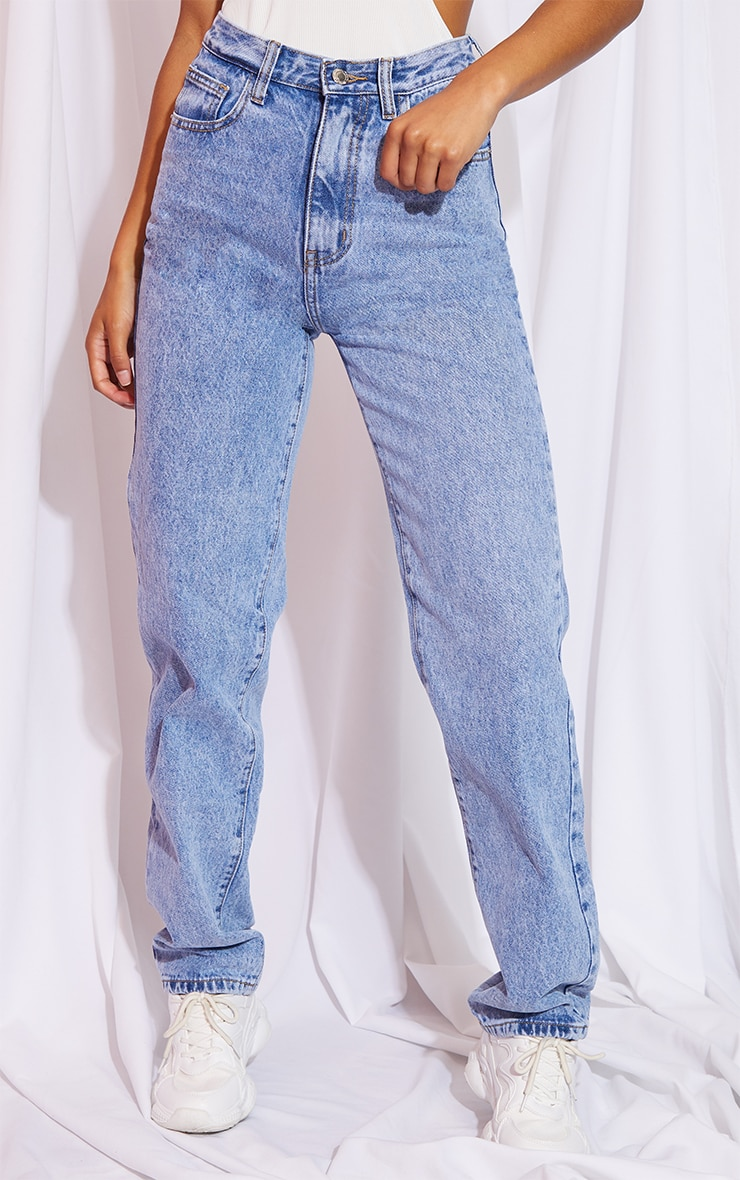 Mid Blue Acid Wash High Waist Straight Leg Jeans 2