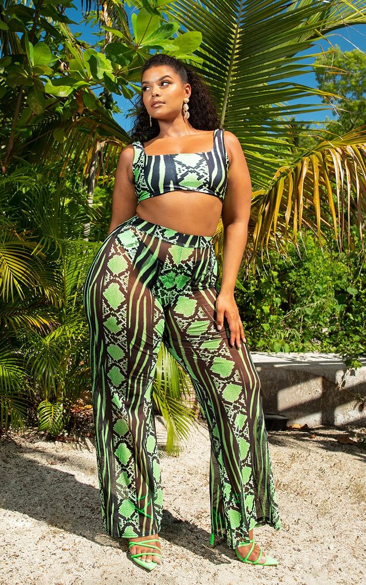 Plus Lime Snake Print Mesh Wide Leg Trouser 1