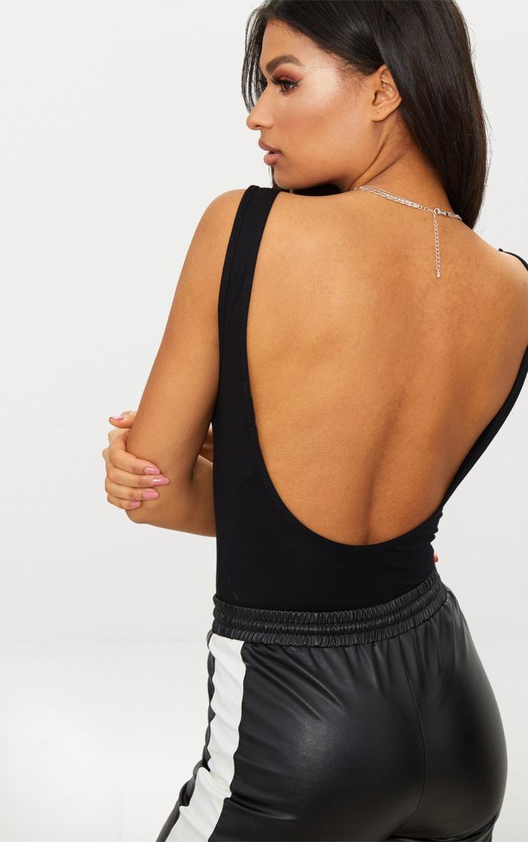 Black Scoop Neck Low Back Jersey Thong Bodysuit 2