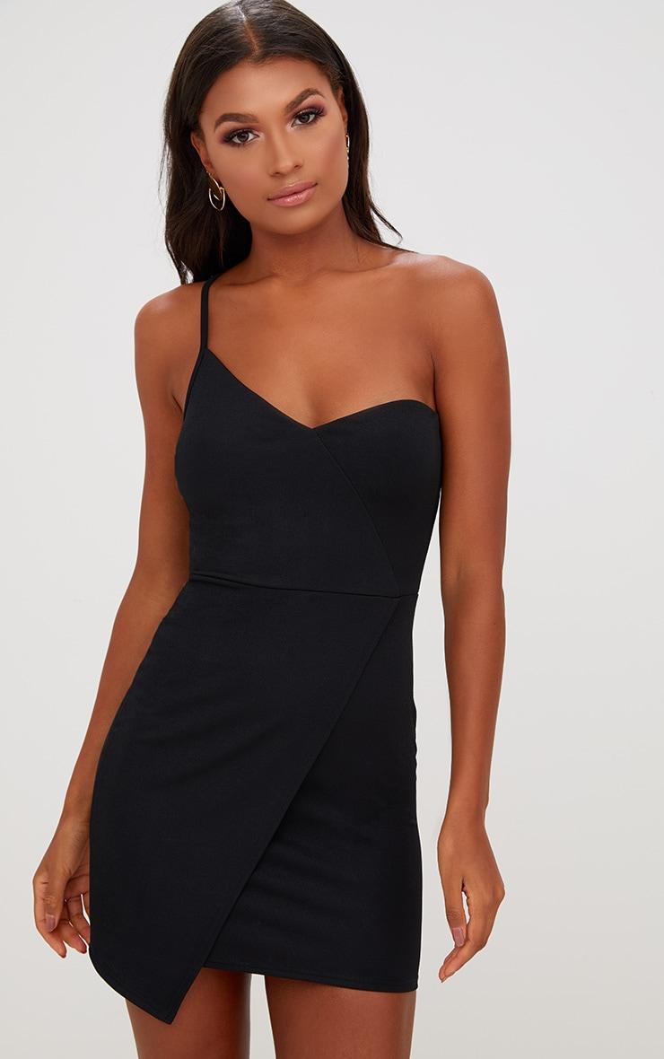 Black Asymmetric One Shoulder Bodycon Dress 1