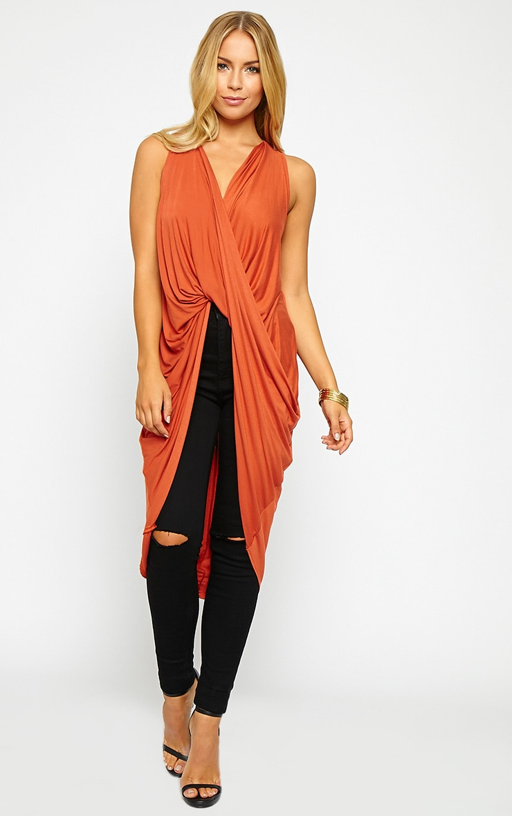 Brea Rust Long Twist Front Sleeveless Top 1