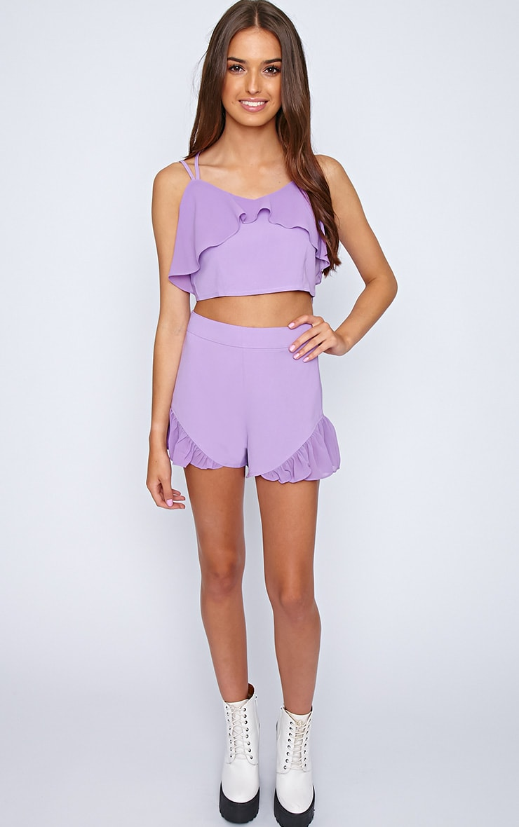 Tessa Purple Chiffon Frill Crop  4