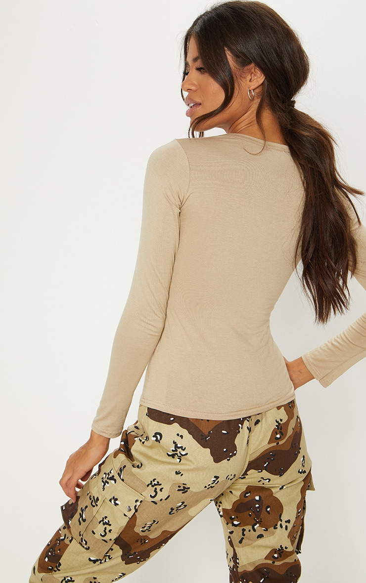 Basic Deep Stone Long Sleeve Fitted T Shirt 2