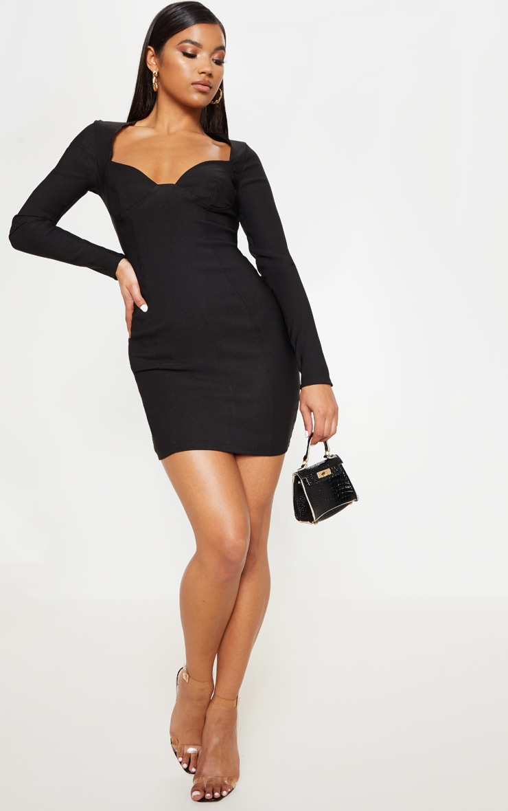 aef266c6d70c The Black Woven Long Sleeve Cup Detail Bodycon Dress. Head online ...