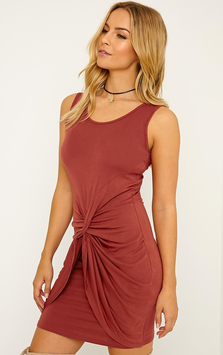 Izabella Rust Twist Front Dress 4