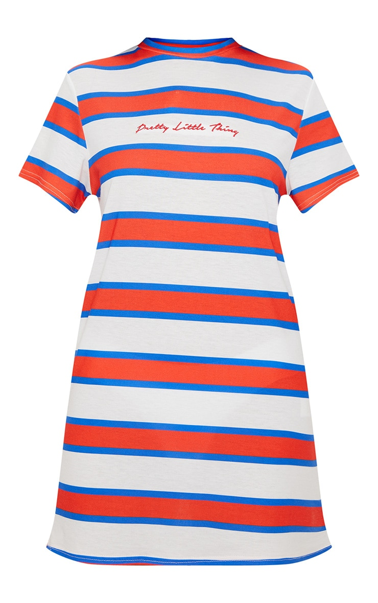 PRETTYLITTLETHING Embroidered White Stripe Oversized T Shirt Dress 3