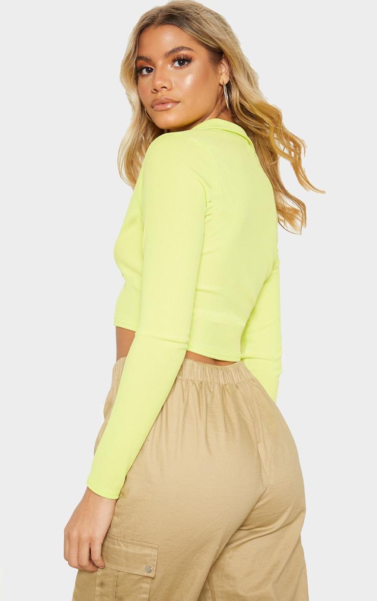 Light Lime Rib Plunge Crop Shirt 2