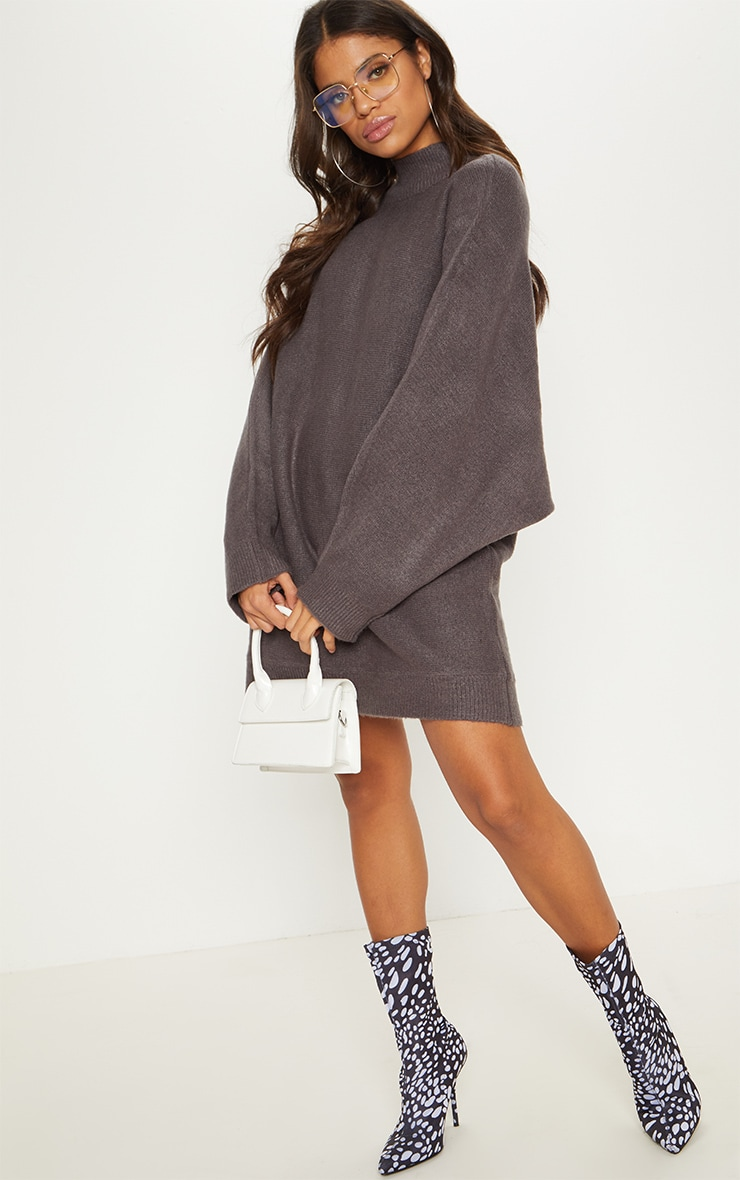 Charcoal Knitted Jumper Dress 1