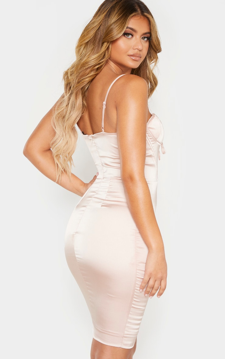 Champagne Satin Eyelet Lace Up Bodycon Dress 2