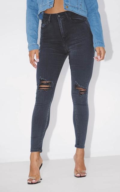 PRETTYLITTLETHING Black Distressed 5 Pocket Skinny Jean