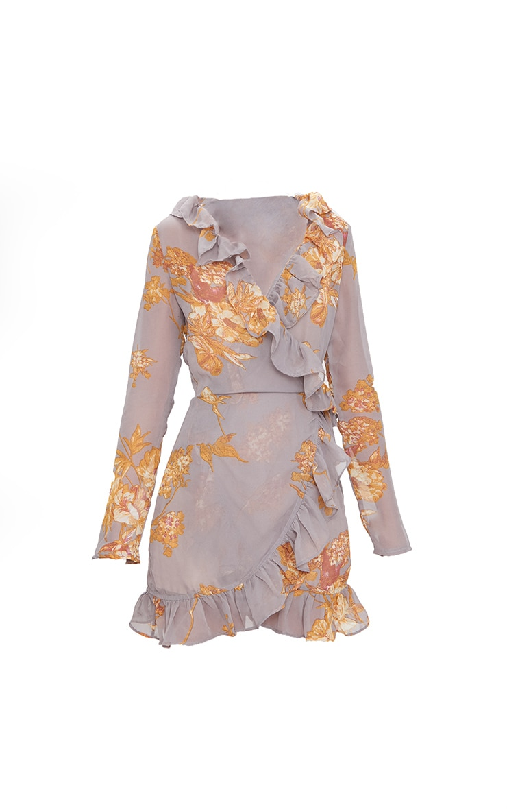 Grey Floral Frill Wrap Mini Dress  3