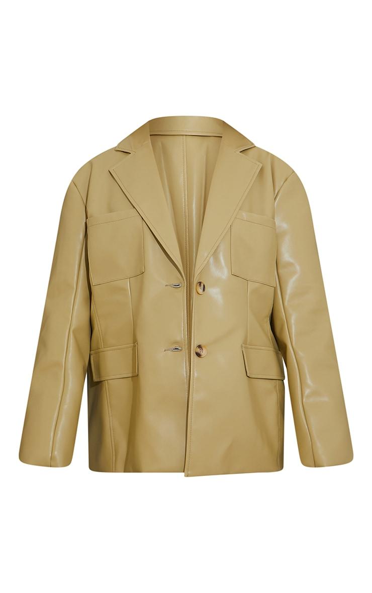Olive Premium Faux Leather Pocket Detail Blazer 5