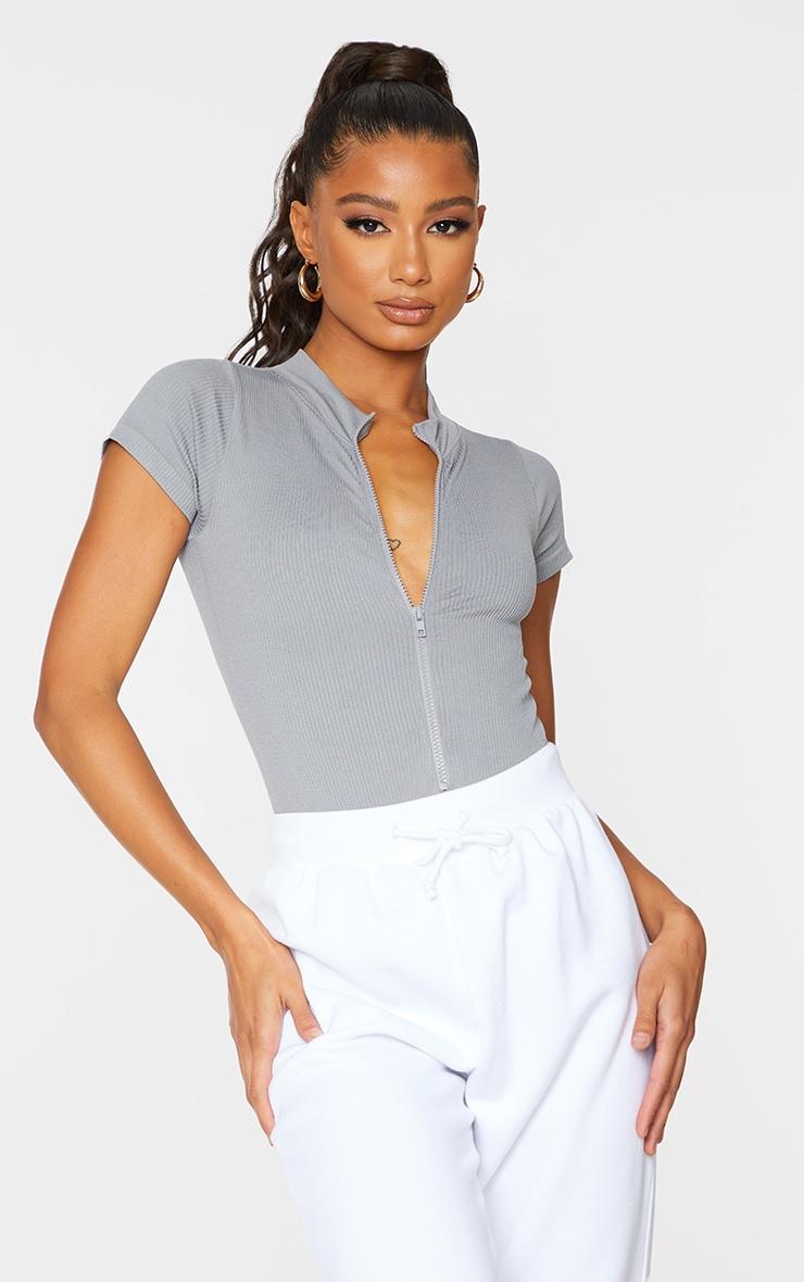 Dark Grey Structured Contour Ribbed Zip Front Short Sleeve Bodysuit 2