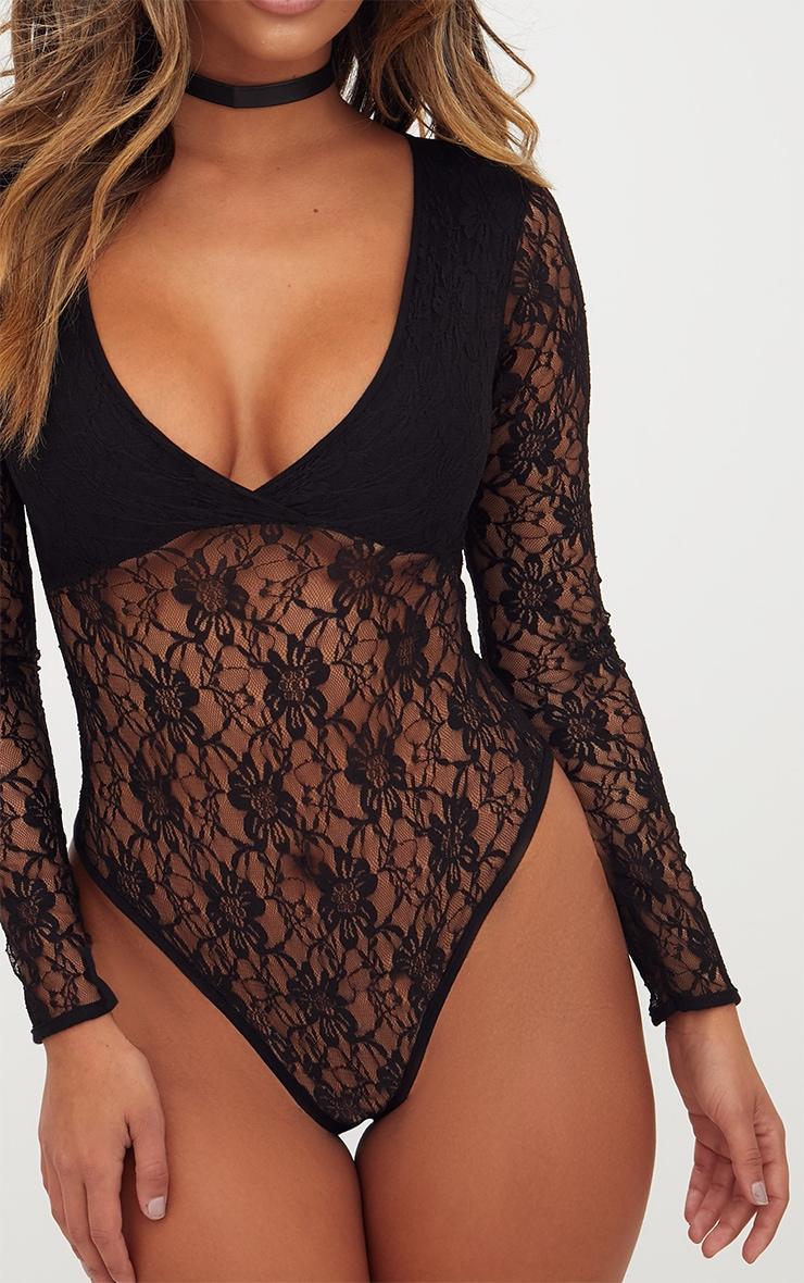 Black Lace V Neck Longsleeve Thong Bodysuit 4