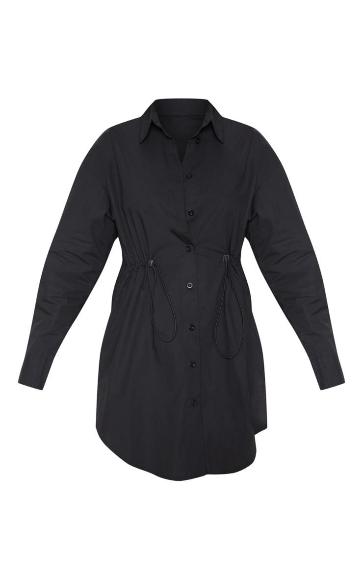 Black Toggle Drawstring Shirt Dress 3