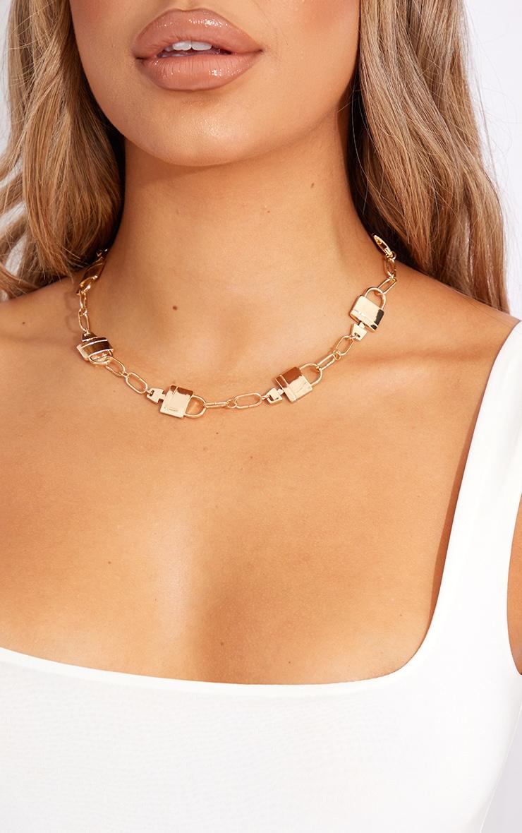 Gold Multi Padlock Necklace 2