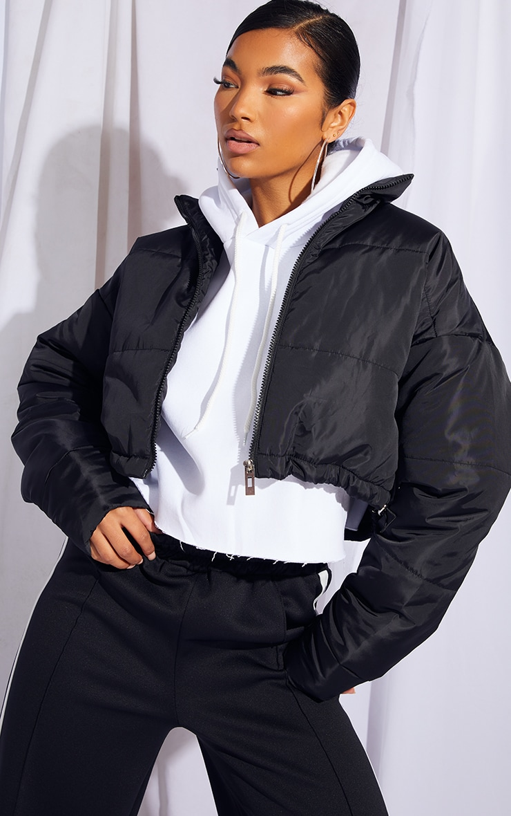 Black Nylon Super Cropped Toggle Hem Puffer Jacket 1