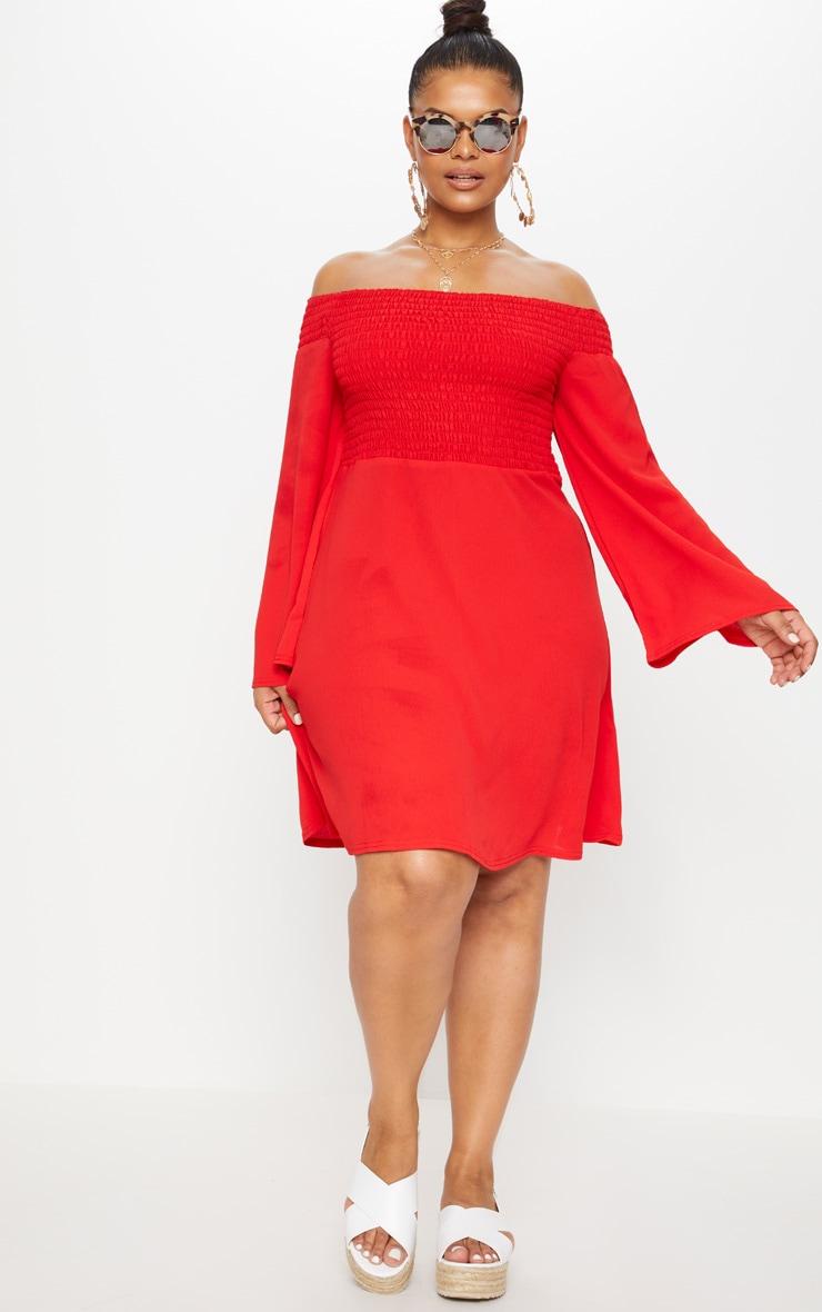 Plus Red Shirred Bardot Swing Dress 4