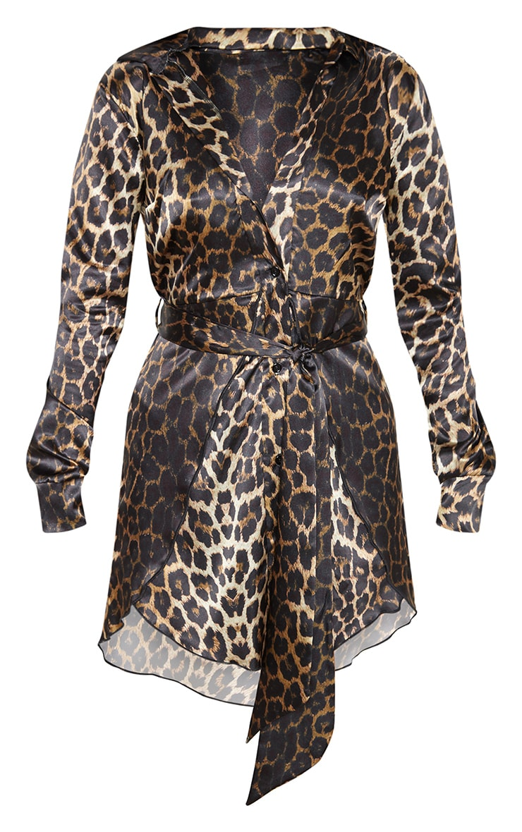 Tan Leopard Print Satin Tie Waist Curve Hem Shirt Dress 3