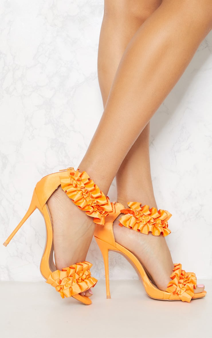 Orange Satin Ruffle Frill Strappy Sandal  1