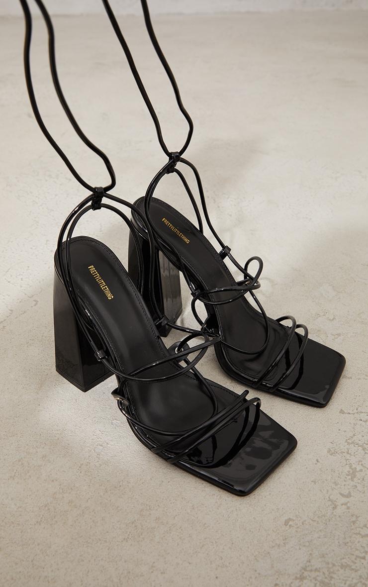 Black Patent PU Square Toe Strappy Block Heel Sandals 3