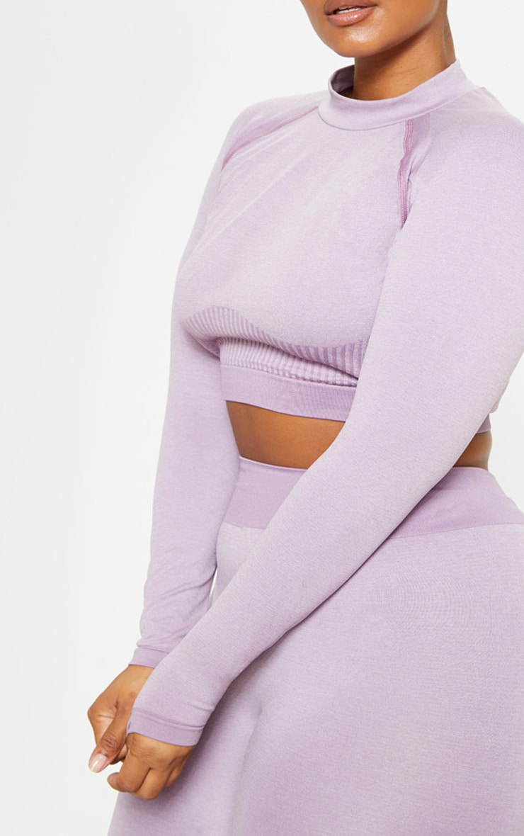Plus Lilac Seamless Underbust Detail Long Sleeve Crop Top 5