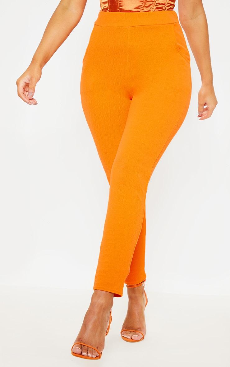 Orange Crepe Skinny Trouser  2